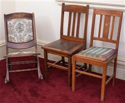 Sale 9190H - Lot 324 - Two slat back ocassional chairs, together with a tapestry rocking chair. Height of taller 89cm