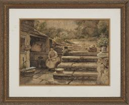 Sale 9184A - Lot 5068 - B B WADHAM (C20TH) Young Girl Plucking the Duck watercolour (AF) 50 x 67.5 cm (frame: 82 x 99 x 4 cm) signed lower right