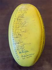 Sale 8261A - Lot 72 - Old 1980s unused Rugby Ball signed by 28 Australians involved in the First Rugby Union Test Australia versus British Lions played at...