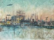 Sale 8510 - Lot 545 - Charles Bush (1919 - 1989) - Melbourne from the site of the new National Gallery 90 x 120cm