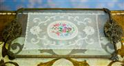 Sale 8577 - Lot 188 - A vintage petit point filigree glass top dressing table tray with lace insert, L 30 x W 19cm,  Condition: As New