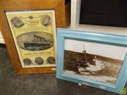 Sale 8557 - Lot 2091 - 2 Framed Pictures: Titanic Soap Advert & Sinking Of The Malabar