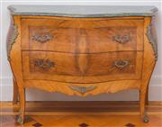 Sale 8575H - Lot 17 - A French verde antico marble top bombe commode in walnut with ormolu mounts, comprising two deep drawers H: 8cm0 W: 124cm D: 51cm