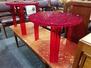 Sale 8723 - Lot 1050 - Pair of T-Tables by Kartell in Deep Red