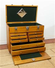 Sale 8774A - Lot 301 - A baize lined timber jewellery cabinet with internal drawers, H x 40cm, W x 41, D x 27cm