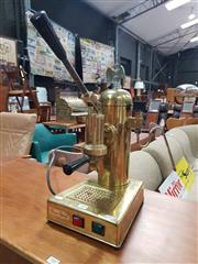 Sale 8872 - Lot 1003 - Vintage Brass Coffee Machine by Riviera Espresso