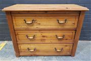 Sale 8996 - Lot 1069 - Pine Chest of Three Drawers (H: 81 x W: 104 x D: 47cm)
