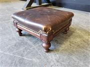 Sale 9031 - Lot 1058 - Victorian Mahogany or Walnut Footstool, of square form & with brown leather top