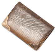 Sale 9046 - Lot 350 - A VINTAGE 9CT GOLD LIZARD SKIN WALLET; monitor lizard skin outer and kid skin interior with card and stamp compartments, with gold c...