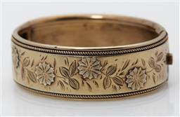 Sale 9123J - Lot 150 - An English hallmarked sterling silver gilt bangle, Robert James Dick, Birmingham 1884, of reduced size suitable for a child, the han...