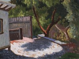 Sale 9195 - Lot 545 - ROLAND WAKELIN (1887 - 1971) Garden View, 1951 oil on board 29 x 39 cm (frame: 52 x 62 x 6 cm) signed lower right; Gowrie Galleries ...