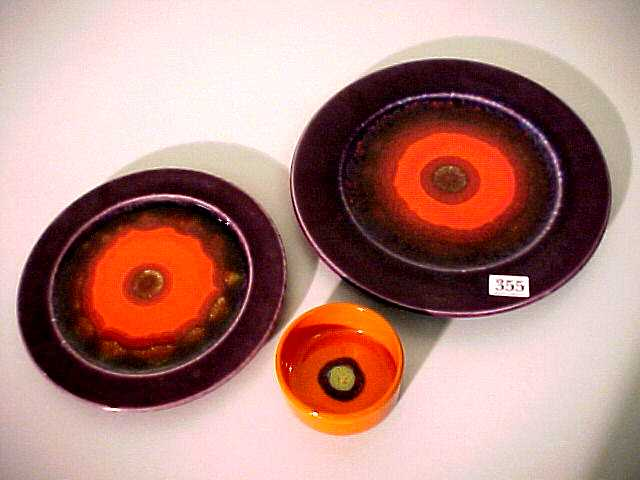 Sale 7268 - Lot 97 - CERAMIC PLATE AND POTTERY PLAQUE BY HUTSCHENREUTHER, circa 1960