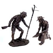 Sale 8000 - Lot 216 - Two small Eddie Hackman bronze figures of outback workers, each signed and editioned.