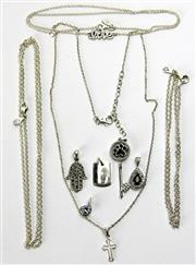 Sale 8196F - Lot 333 - STERLING SILVER PENDANTS AND CHAINS; Pastiche cruciform pendant on chain, 3 Pandora cable link chains, and five pendants incl sapphi...