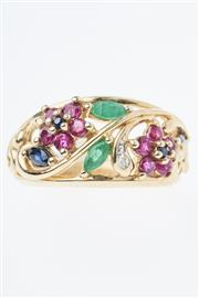 Sale 8338J - Lot 323 - A 9CT GOLD GEMSET RING; floral design set with ruby, emerald, sapphire and diamond (L).