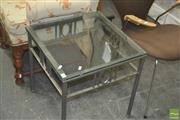 Sale 8331 - Lot 1355 - Glass Top Side Table on Metal Base