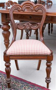Sale 8595A - Lot 28 - A set of 10 Victorian mahogany shaped balloon back chairs with red gingham drop in seats, raised on turned reeded legs