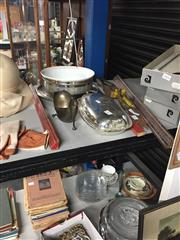 Sale 8748 - Lot 56 - A collection of EP wares including a unique gravy boat, an entree dish with cask rim and a ceramic dish with plated stand
