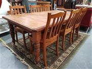 Sale 8843 - Lot 1077A - Kauri Pine Dining Table and 6 Pine Chairs