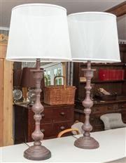 Sale 9060H - Lot 96 - A pair of bronze finish metal table lamps with opaque shades. Height 98cm