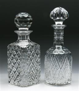 Sale 9144 - Lot 440 - Two cut crystal decanters (H:28cm)