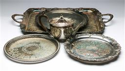 Sale 9164 - Lot 412 - Collection of silver plated wares inc, trays (Largest L 67cm) together with A Hardy bros teapot