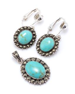 Sale 9221 - Lot 327 - A SILVER STONE SET PENDANT AND EARRINGS SUITE; all set with oval cabochon faux turquoise to marcasite set surrounds, pendant size 29...