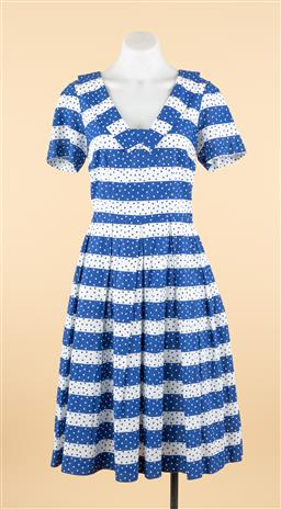 Sale 9250F - Lot 57 - An Emily and Fin blue and white polka-dot dress with pleated front, size M.