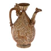 Sale 8132B - Lot 432 - Thai Kendi with incised decoration of deer and peacock - decoration heightened with iron brown and cream glaze.