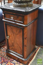Sale 8282 - Lot 1016 - Victorian Figured Walnut & Ebonised Bedside Cabinet, with black marble top, one drawer & one door