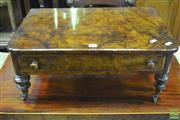 Sale 8345 - Lot 1026 - Victorian Figured Walnut Side Table, formerly a Canterbury, with single drawer & turned legs