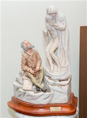 Sale 8368A - Lot 31 - An Italian ceramic figure on wooden stand bearing plaque Unfinished by Michelangelo, H 54 cm