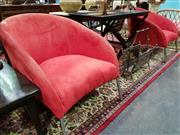 Sale 8462 - Lot 1021 - Pair of Red Modern Tub Chairs