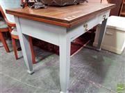 Sale 8480 - Lot 1059 - Painted Timber Kitchen Table with Two Drawers (H 76 x W 122 x D 68cm)