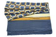 Sale 8564 - Lot 365 - A VINTAGE YVES SAINT LAURENT LONG SILK SCARF; navy blue with bronze and silver pattern, 184 X 88cm.