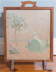 Sale 8575H - Lot 18 - A vintage tapestry firescreen with glass protector and oak frame, depicting a Deco lady in a landscape. H: 67cm W: 51cm