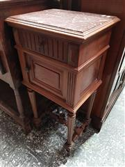 Sale 8714 - Lot 1029 - French Renaissance Walnut Style Bedside Cabinet, with rouge marble top, a drawer & door on turned legs