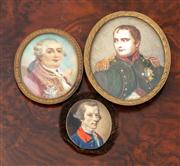 Sale 8804A - Lot 27 - Three portrait miniatures, one of Napoleon Bonaparte, Louis XVI signed Dupre and another of a late C18th gentlemen, tallest 7cm