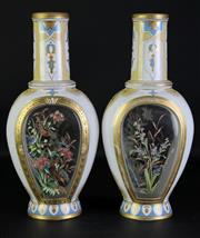 Sale 8972 - Lot 60 - Pair of handpainted glass vases featuring birds, in the Venetian manner (H34cm)