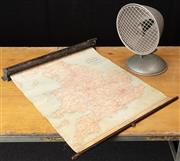 Sale 8984H - Lot 352 - A Radiant desk top heat lamp in aluminium together with an English Whitehead and Mason wall mount dispensable road map of england an...