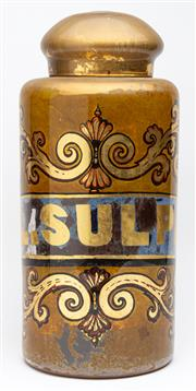 Sale 9054E - Lot 40 - A large Victorian reverse painted glass apothecary jar and lid bearing the label FL. SULPH. amidst gilt scrolling detail. Height 47cm