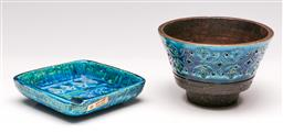 Sale 9131 - Lot 43 - Italian studio pottery ashtray (11cm x 11cm) together with a comport (H:8cm)