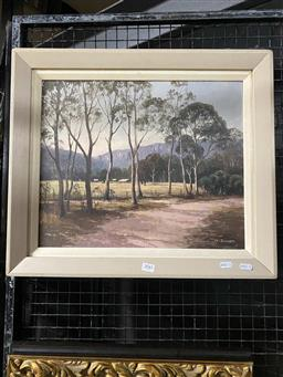 Sale 9159 - Lot 2041 - Harry Emmett, In Megalong valley, Oil on canvas on board, frame: 48 x 56 cm, signed lower right.