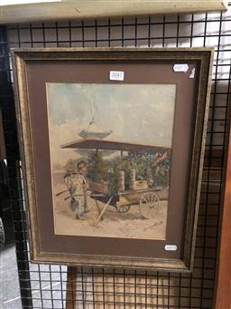 Sale 9172 - Lot 2047 - Artist Unknown  The Flower Seller watercolour, frame: 44 x 35 cm, signed lower right
