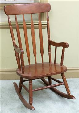 Sale 9190H - Lot 345 - A wooden rocking chair, Height of back 81cm x Width 44cm x Depth 74cm