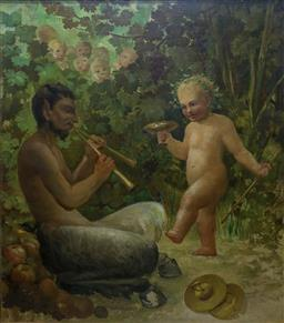 Sale 9210A - Lot 5025 - ATTRIBUTED JULIAN ROSSI ASHTON (1851 - 1942) - Satyr and Putti 118 x 104 cm (frame: 131 x 118 x 6 cm)