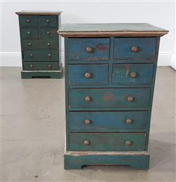 Sale 9255 - Lot 1209 - Pair of shabby chic 7 drawer bedside chests in jade (h:76 w:50 d:43cm)