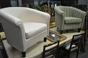 Sale 8099 - Lot 867 - 2 Unmatching Upholstered Tub Chairs