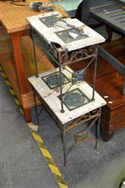Sale 8129 - Lot 1096 - Two Stone Top Side Tables(one top Broken)