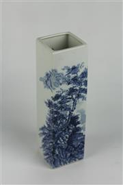 Sale 8384 - Lot 27 - Oriental Blue and White Square Form Landscape Vase